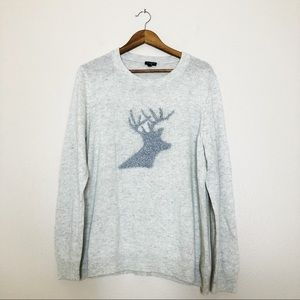Talbots Reindeer Silver Wool Sweater Christmas 2XL